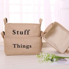 leegoal Foldable Linen Storage Box Clothes Storage Basket Bag BooksToys Organizer Box Pouches(40*30*20cm) - intl