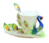 Low Cost Leegoal Hand Crafted China Enamel Porcelain Tea Mug Coffee Cup Set With Spoon And Saucer Green 200Ml Intl
