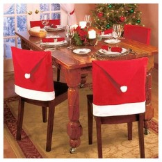 leegoal Santa Claus Hat Dining Chair Covers Soft Comfort Christmas Party Decoration,Set Of 8 - intl