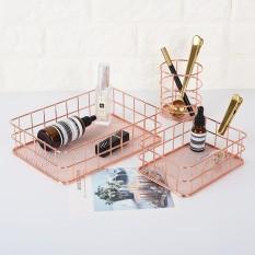 leegoal Storage Basket Copper Wire Bathroom Shelves Makeup Organiser Rose Gold Brush Pen Holder Wire Mesh Bathroom Toiletries Storage Basket - 24.5*16.5*6.5cm - intl