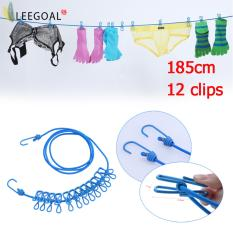 Leegoal Travel Clothesline With 12 Clips Adjustable Outdoor Cloth Drying Rope (blue) By Leegoal.