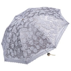 liebao Compact Lace Wedding Parasol Folding Travel Sun Umbrella UV Block (Apricot) - intl