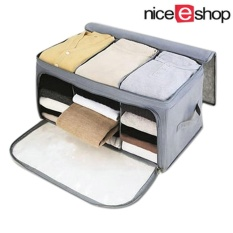 liebao Home Storage Bamboo Charcoal Fiber Clothing Organizer Bags Zipper Bag Case Container Organizers Container Box,Gray - intl