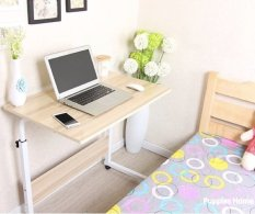 Light Oak 80Cmx40Cm Wheel Laptop Table Study Portable Bed Desk Pc Notebook Lazy Wooden Wood Stand Holder Computer Lap Foldable Riser Adjustable Couch Plastic Furniture Organizer Shop