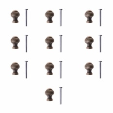Lightning Power-10pcs Mini Vintage Brass Round Drawer Jewelry Box Knobs Cabinet Cupboard Pull Handle with Screws - intl