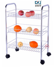 Linear Space Metal Three Layer Trolley Mesh Basket Kitchen Shelves Storage Rack 48*30*68 Cm