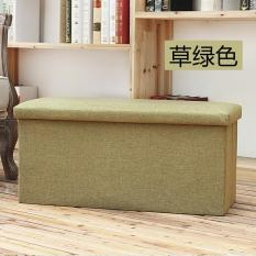 Linen covered storage stool rectangular storage bins - green grass (40 * 25 * 25CM)