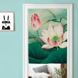 Buy Chinese Cotton Linen Lotus Ink Partition Door Curtain Oem Original