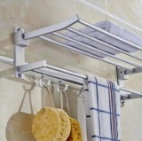 Top Rated Lingstar Space Aluminum Wall Mounted Foldabel 2 Tier 3 Tier Towel Rack With Hooks Intl