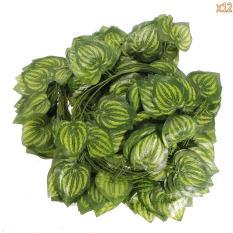 LingTud 12 Pcs Artificial Silk Watermelon Leaves Ivy Home Garden Wall Wedding Decoration (Green)
