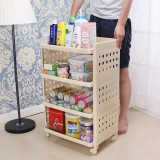 Review Living Room Mobile Plastic Cabinet Shelf Storage Rack Oem