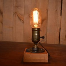 Loft Retro Metal and Wooden Desk Light Vintage Table Light Bedside Lamp/EU Plug - intl