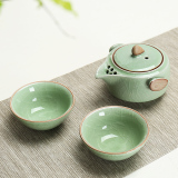Promo Long Au Ru Ge Quik Cup A Pot Two Cup Home Ceramic Teapot Portable Travel Kung Fu Tea Set