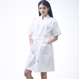 Buy Love Is Still Lufthansa Bathrobe Cotton Nightgown Men And Women Spring And Summer Short Paragraph Waffle Grid Absorbent Bathrobe Special Oem Online