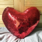 Best Buy Love Shape Double Color Sequins Sofa Bed Home Decoration Pillow Case Intl