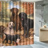 Retail Price Lovely Dog Art Polyester Fabric Shower Curtain Bathroom Home Decor 12 Hooks Set Intl