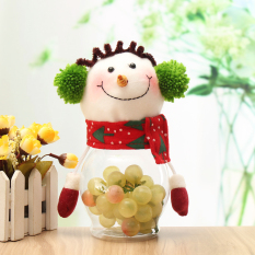 Lovely Snowman Santa Claus Candy Round Jar Christmas Kid Toy Doll Gift Decor - intl