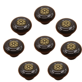 Lt365 8Pcs Cute Round Ceramic Knob With Zinc Alloy Petals Inlaying Drawer Pull Handle For Door Cabinet Cupboard Black Bronze Intl Price Comparison