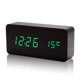 Cheaper Lt365 Mini Rectangle Wooden Double Screen Green Led Table Clock Sound Activated Digital Alarm Clock Black