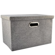 LT365 Simple Design Storage Box Foldable Thicken Home Sundries Organizer with Lid 47*30.5*30.5cm - Grey - intl