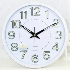 Brand New Luminova Modern Minimalist Temperature Humidity Wall Clock Mute Large Living Room Creative Quartz Wall Clock 35Cm Intl
