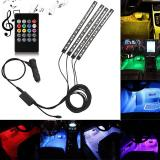 Purchase Lumiparty 4Pcs Led Remote Control Colourful Music Ambient Stripe Light For Car Decoration Color Colorful