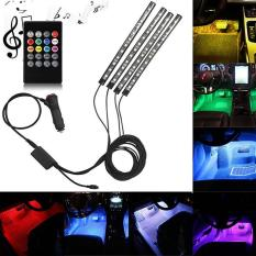 Cheaper Lumiparty 4Pcs Led Remote Control Colourful Music Ambient Stripe Light For Car Decoration Color Colorful