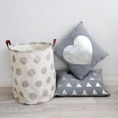 LumiParty Cute Stylish Canvas Storage Bag Toy Container Large Capacity Laundry Basket Handled Bags Household Sundries Container Style:Silver dots Size:40 * 50cm