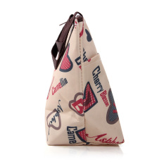 Lunch Box Bag Tote Insulated Cooler Carry Bag for Travel Picnic Heart Pattern