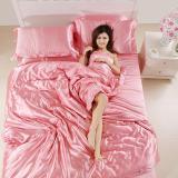 Best Offer Luxury 4 Piece Satin Silky Bed Sheet Set Bedding Collection Duvet Cover Sets Intl