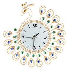Luxury Diamond Peacock Large Metal Living room Wall Clocks Gold