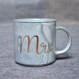 Buy Luxury Marble Ceramic Mugs Gold Plating Mrs Mr Couple Lover S Gift Morning Mug Milk Coffee Tea Breakfast Unique Porcelain Cup Straight Cup Mrs Grey Intl Cheap On China