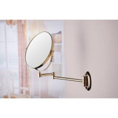 M0128G 8 Inch Brass Round Double Side  Makeup Wall Mirror Gold Plated (Golden)