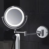 Get Cheap M1408Tf 8 Inch Brass Round Double Side Ultra Thin Cosmetic Shaving Mirror Wall Mounted Makeup Mirror With Led Light Silver