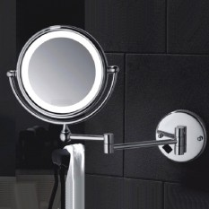 Best M1408Tf 8 Inch Brass Round Double Side Ultra Thin Cosmetic Shaving Mirror Wall Mounted Makeup Mirror With Led Light Silver