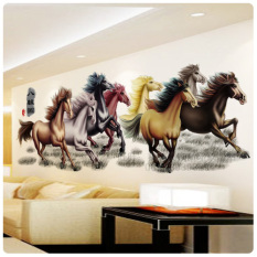 Eight Horses Wall Stickers Living Room Decoration Wallpaper Success Office Library Sofa Background Horse Self-Adhesive Sticker