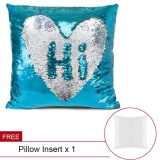 Sale Magic Color And Pattern Changing Stylish Glitter Reversible Sequins Mermaid Pillowcase 1616In Decorative Pillow Covers Home Cushion Sofa Pillowcase (Lake Blue And Silver) Buy 1 Get 1 Free Intl Online China