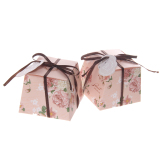 Purchase Magideal 50Pcs Floral Trapezoid Wedding Candy Boxes With Tags And Ribbons Pink Intl Online