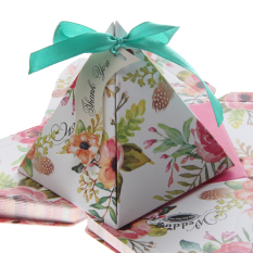 Who Sells Magideal 50Pcs Floral Triangle Candy Gift Boxes With Ribbons Wedding Party Favour Intl