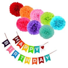 MagiDeal Colorful Happy Birthday Banner Garland Paper Pom Pom Flowers Party Decor Kit - intl