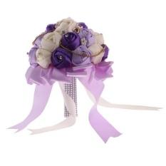 Cheaper Magideal Crystal Purple Satin Silk Rose Flower Wedding Bride Bridesmaid Bouquet 20Cm Intl