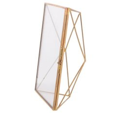 MagiDeal Vintage Geometric Glass Free Stand Photo Frame Portrait 5 x 3.5 in Copper - intl