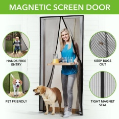 Magnetic Screen Door with Heavy Duty Mesh Curtain and Full Frame Velcro Fits Door Size up to 36-82 Max- Black - intl