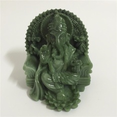 Man-made Jade Stone Craft Ganesha Elephant God Buddha Statue Sculpture Home Decor Gifts - intl
