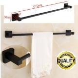 Lowest Price Matt Black Square Towel Rack Rail Tissue Roll Toilet Brush Holder Robe Hook New Intl