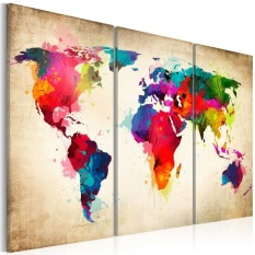 May_zz Home Living Paintings Fashion Environmental Professional Canvastriple World Map On The Wall - intl