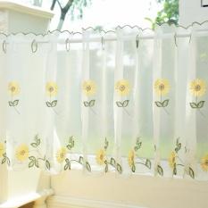 May_zz Korean Daisy Fresh Coffee Curtain Short Curtain Gauze Half-Curtainlace Pastoral Floating Curtain Kitchen Trade Off The Curtain - intl