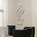 Cheaper Mc Silver 3D Coffee Cup Bell Wallsticker Cool Diy Wall Stickers Wallpaper Favored For Home Kitchen Decor Intl