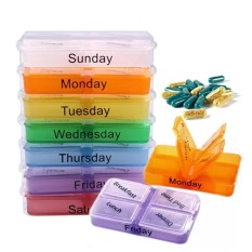 Medicine Weekly Storage Pill 7 Day Tablet Sorter Box Container Case Organizer(Multicolor)