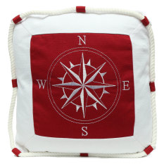 Mediterranean Style Anchor Compass Pattern Cushion Cover Throw Nautical Pillow Intl Lowest Price